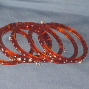 vtg set 5 brown lucite bangle bracelet rhinestone
